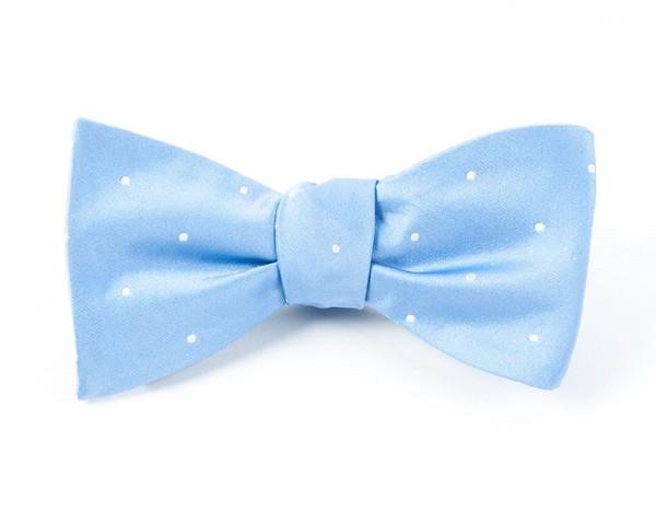 Satin Dot Light Cornflower Bow Tie