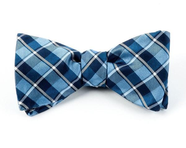 Ensemble Plaid Light Blue Bow Tie
