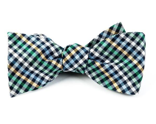 Daydream Plaid Navy Bow Tie