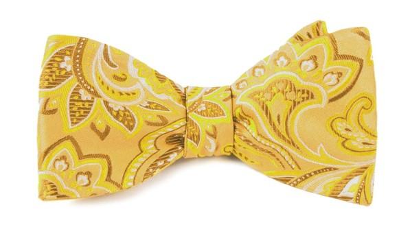 Organic Paisley Gold Bow Tie