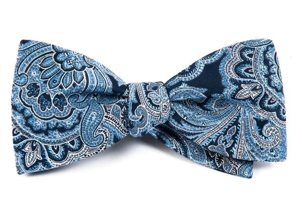 Designer Paisley Navy Bow Tie