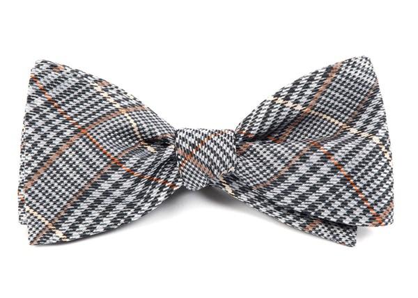 Professor Plaid Grey Bow Tie