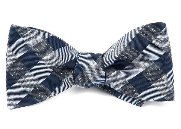 Splattered Gingham Deep Slate Blue Bow Tie