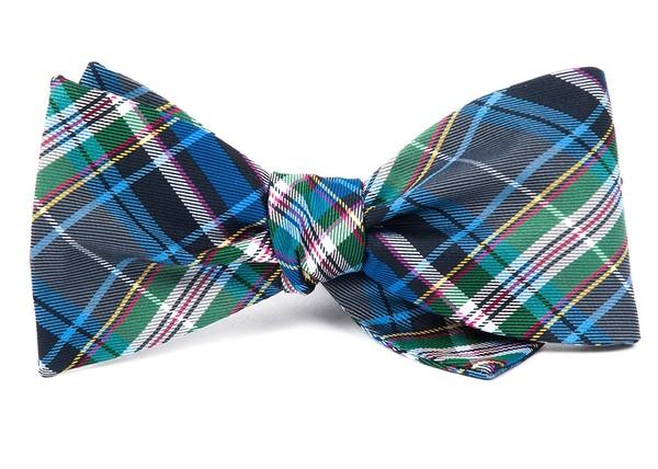West Village Plaid Grey Bow Tie