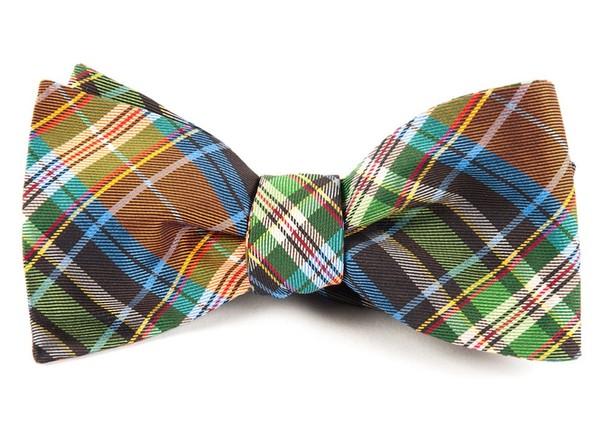 West Village Plaid Orange Bow Tie