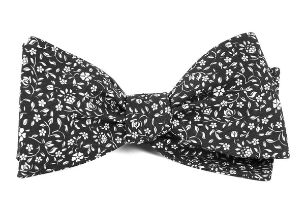 Peninsula Floral Black Bow Tie