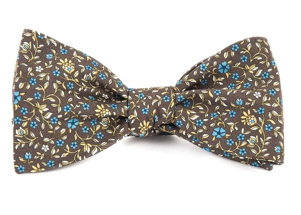 Peninsula Floral Brown Bow Tie