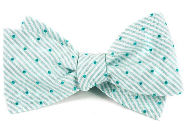 Down The Aisle Dots Aqua Bow Tie