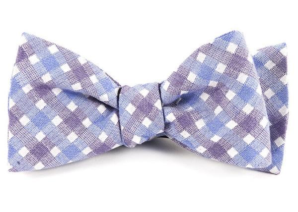 Plaid Bliss Violet Bow Tie