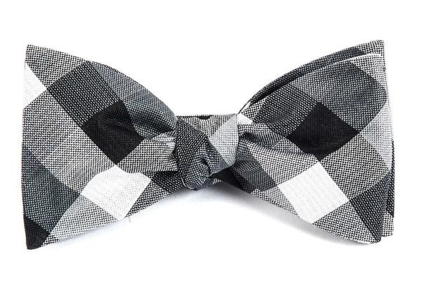 Pitch Plaid Black Bow Tie