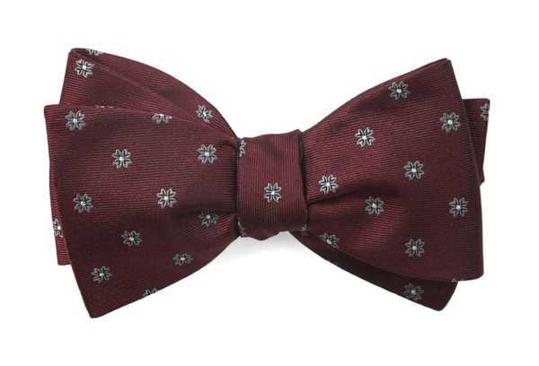 Floral Span Burgundy Bow Tie