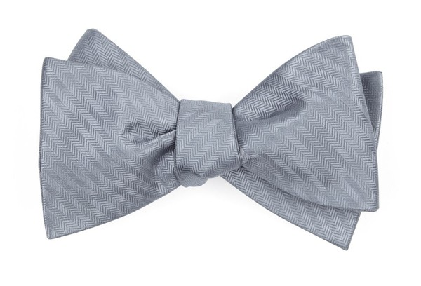 Sound Wave Herringbone Silver Bow Tie