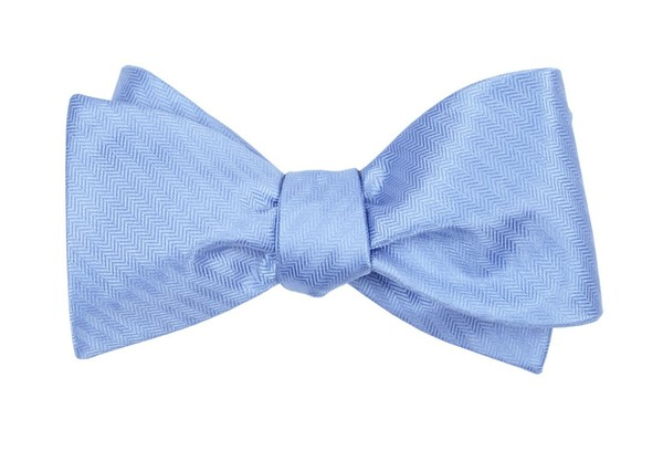 Sound Wave Herringbone Light Blue Bow Tie