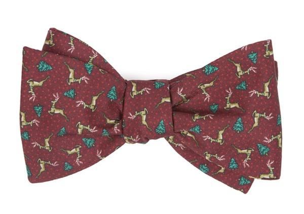 Christmas Fleet Burgundy Bow Tie