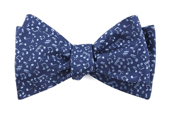 Music Notes Navy Bow Tie
