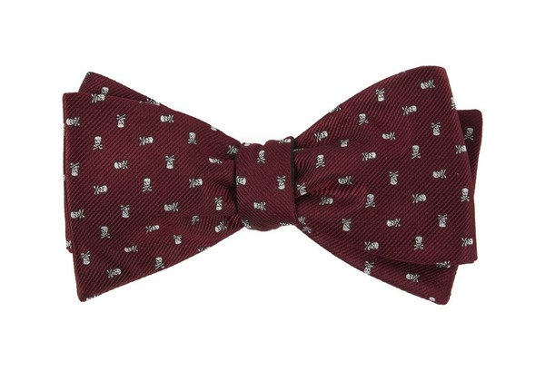 Mini Skull And Crossbones Burgundy Bow Tie