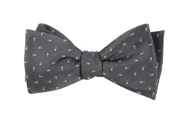Mini Skull And Crossbones Grey Bow Tie