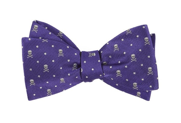 Skull Dots Violet Bow Tie