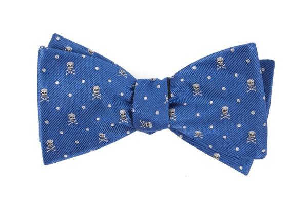 Skull Dots Royal Blue Bow Tie