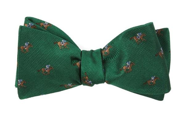 Horse Racing Emerald Green Bow Tie