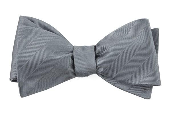 Herringbone Vow Grey Bow Tie