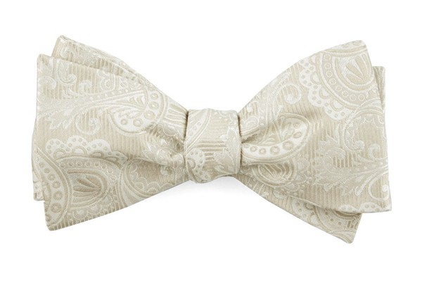 Twill Paisley Light Champagne Bow Tie