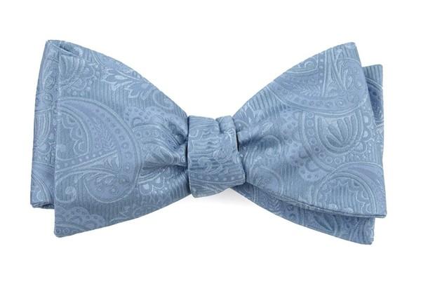 Twill Paisley Steel Blue Bow Tie