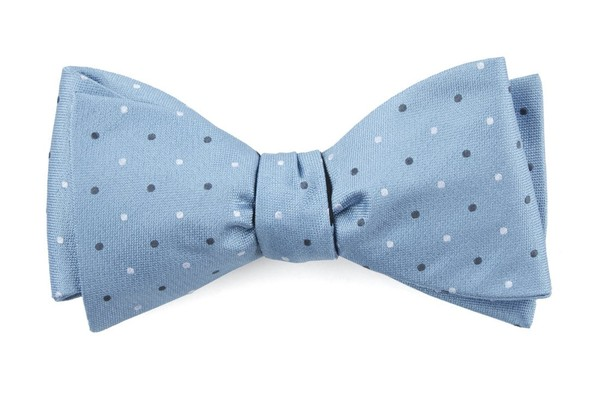 Suited Polka Dots Steel Blue Bow Tie