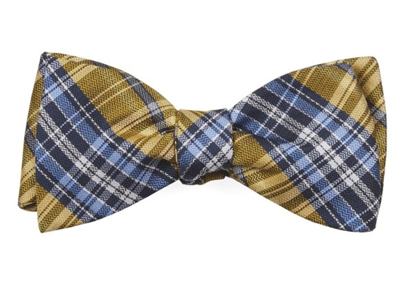 Motley Plaid Yellow Bow Tie