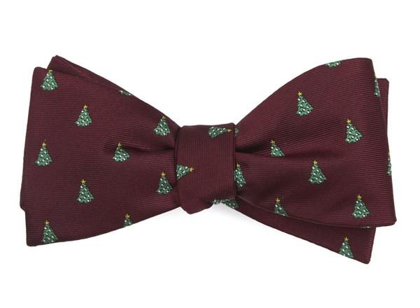 O Christmas Tree Burgundy Bow Tie