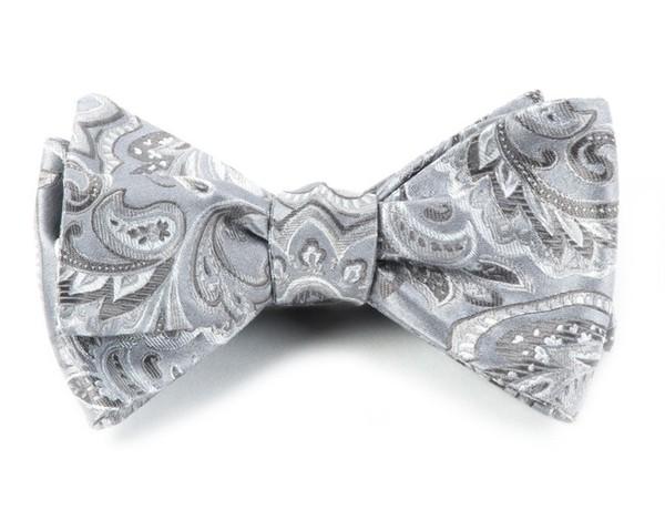 Organic Paisley Platinum Bow Tie