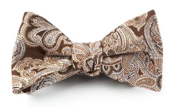 Designer Paisley Chocolate Brown Bow Tie