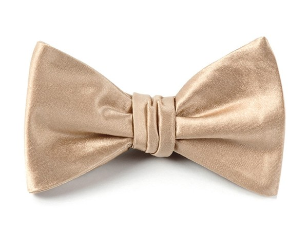 Solid Satin Light Champagne Bow Tie