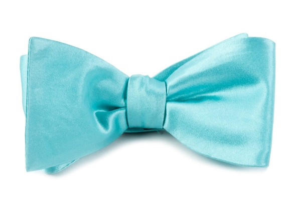 Solid Satin Pool Blue Bow Tie