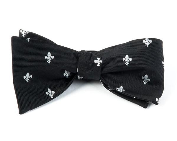 Fleur De Lis Black Bow Tie