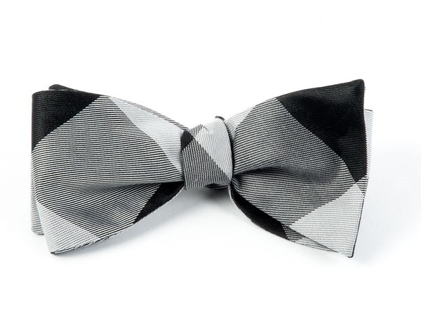 Bison Plaid Black Bow Tie