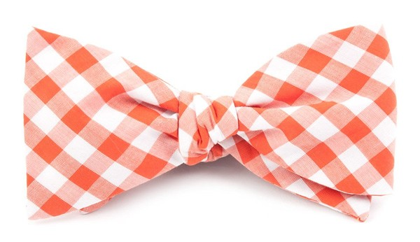 Classic Gingham Orange Bow Tie