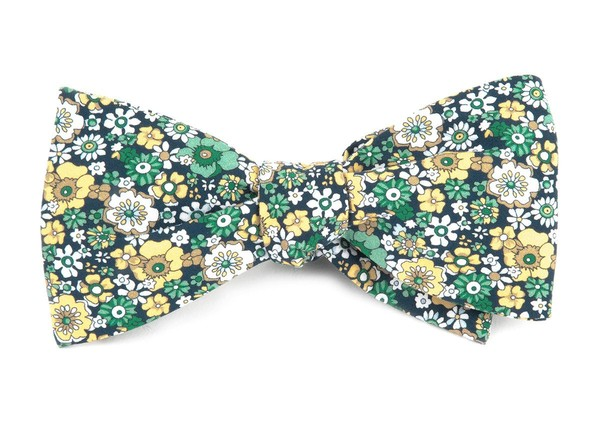 Floral Level Navy Bow Tie