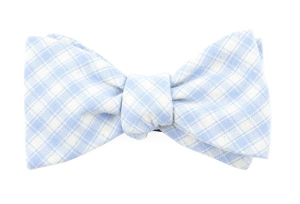 Mesh Plaid Light Blue Bow Tie