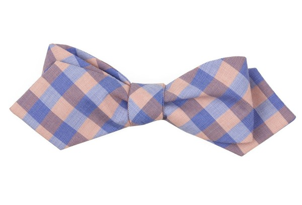 Old City Checks Coral Bow Tie