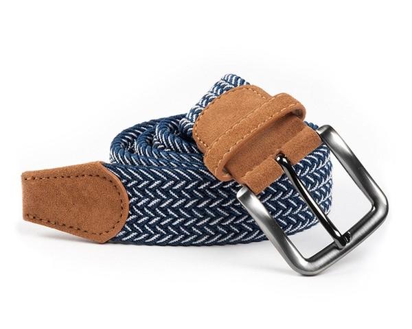 Braided Herringbone Navy Belt