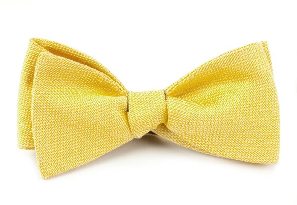 Solid Linen Butter Gold Bow Tie