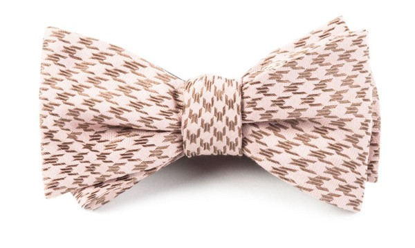 White Wash Houndstooth Soft Pink Bow Tie