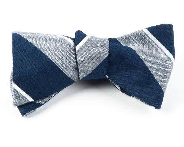 Patina Stripe Silver Bow Tie