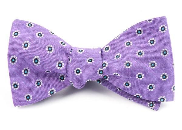 Half Moon Floral Purple Orchid Bow Tie