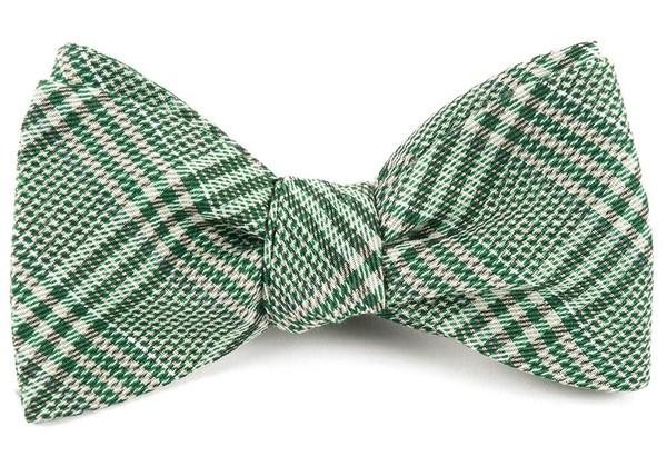 Columbus Plaid Moss Green Bow Tie