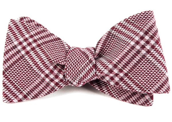 Columbus Plaid Raspberry Bow Tie