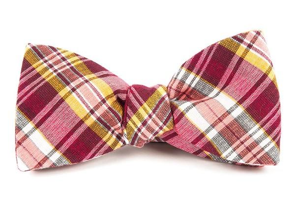 Rnr Plaid Reds Bow Tie