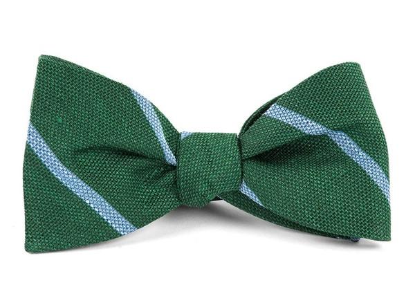 Spring Break Stripe Hunter Green Bow Tie