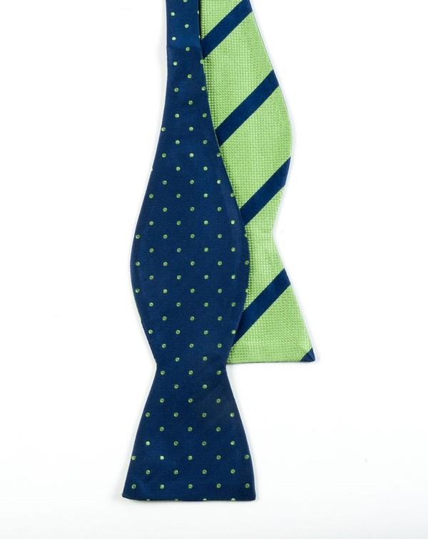 Hot Dots Stripe Navy Bow Tie